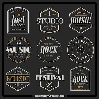 Colección de insignias de música retro