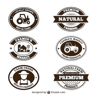 Colección de insignias de productos agrícolas