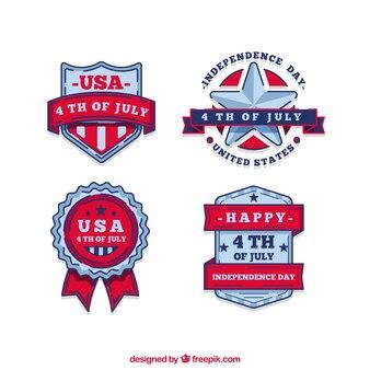 Colección de insignias del día de independencia de estados unidos