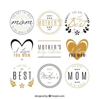 Colección de insignias del día de la madre con detalles dorados