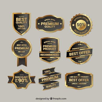 Colección de insignias doradas de calidad suprema