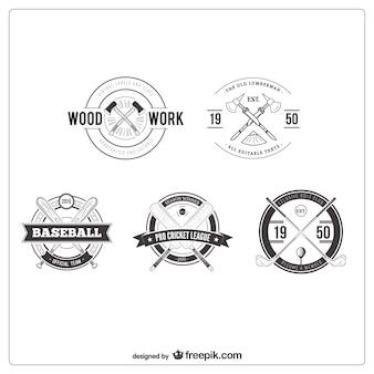Colección de insignias en estilo retro