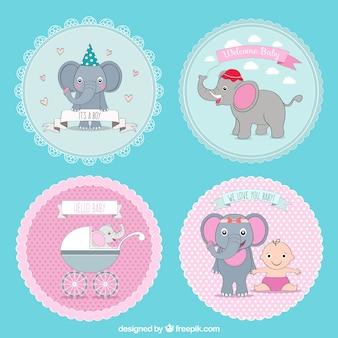 Colección de insignias lindas de bienvenida del bebé