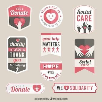 Colección de insignias planas de organización benéfica