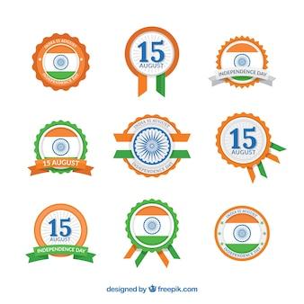 Colección de insignias retro del día de la independencia de india