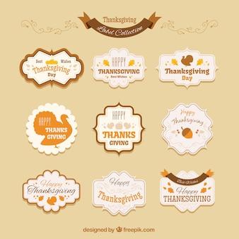 Colección de insignias vintage de acción de gracias