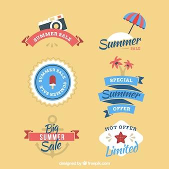 Colección de insignias vintage planas de rebajas de verano