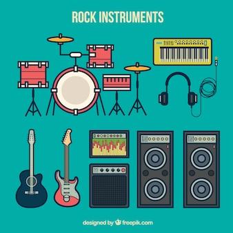 Colección de instrumentos de rock
