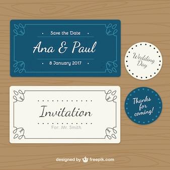 Colección de invitación de boda y etiquetas