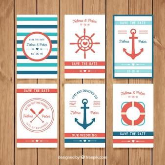 Colección de invitación de bodas náuticas