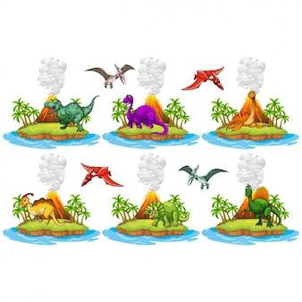 Colección de islas de dinosaurios