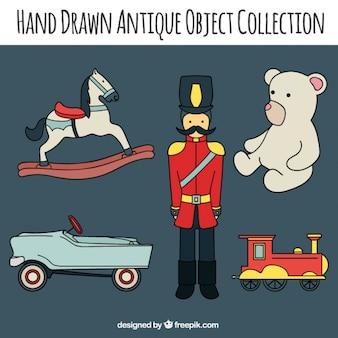 Colección de juguetes antiguos dibujados a mano