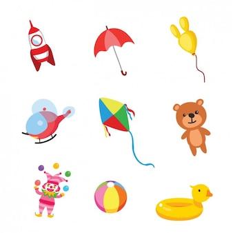 Colección de juguetes de niños a color