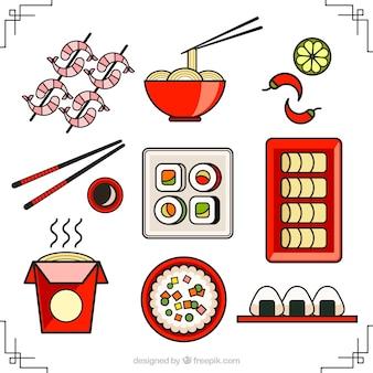 Colección de la comida asiática Lineal