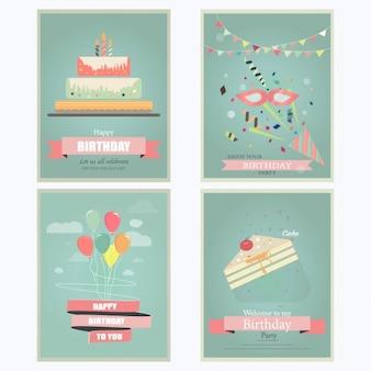Colección de la tarjeta plana de cumpleaños