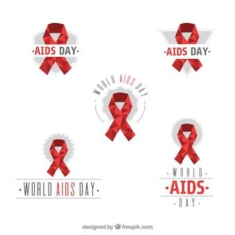 Colección de lazos poligonales del día mundial del sida