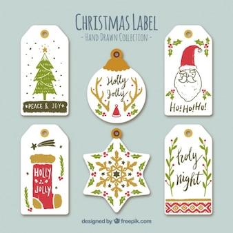 Colección de lindas pegatinas navideñas dibujadas a mano
