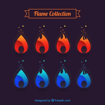 Colección de llamas rojas y azules