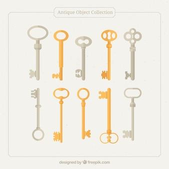 Colección de llaves antiguas en diseño plano