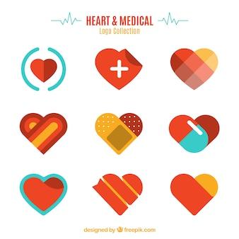 Colección de logo de corazón y médico