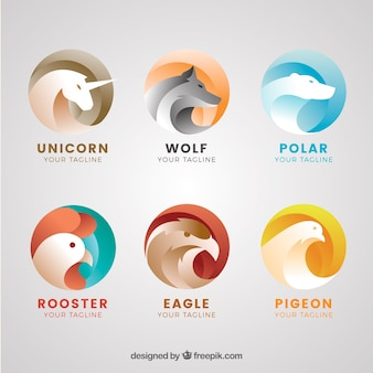 Colección de logos abstractos de animales