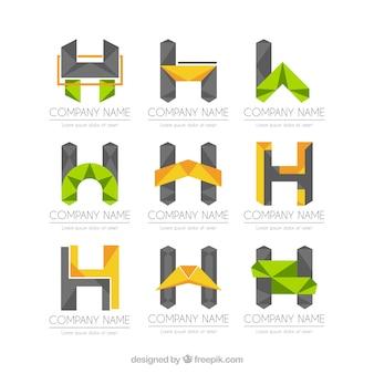 Colección de logos abstractos de la letra h