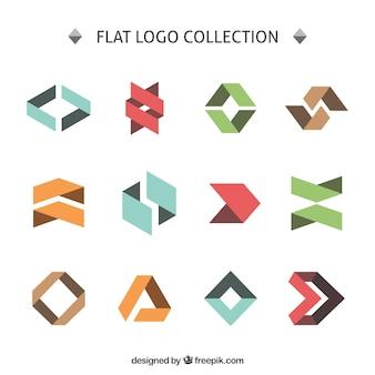 Colección de logos angulares planos