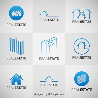 Colección de logos azules de inmobiliarias