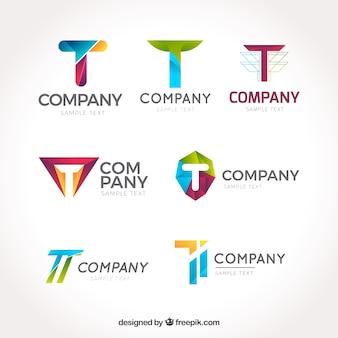 Colección de logos corporativos de letra  t