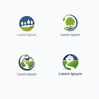 Colección de logos de árboles y casas
