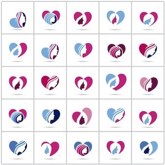 Colección de logos de corazón con silueta femenina