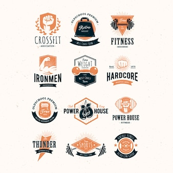 Colección de logos de fitness a color