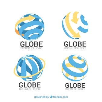 Colección de logos de globo terráqueo azules y naranjas