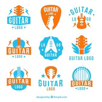 Colección de logos de guitarras azules y naranjas