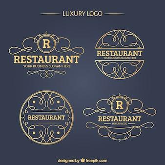 Colección de logos de lujo de restaurante