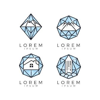 Colección de logos de montaña