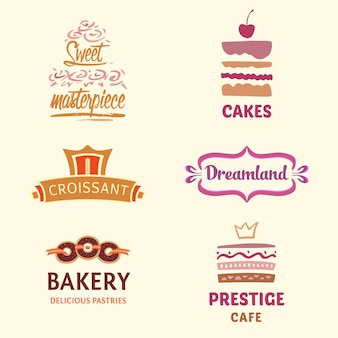 Colección de logos de pastelería