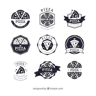 Colección de logos de pizza en blanco y negro