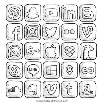 Colección de logos de redes sociales dibujadas a mano