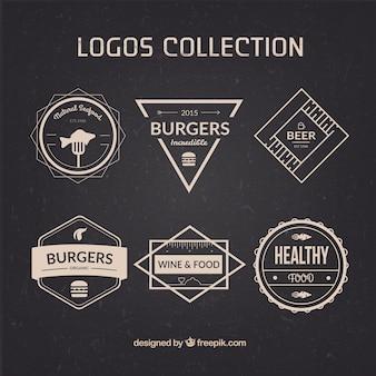 Colección de logos de restaurante en estilo retro