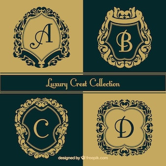 Colección de logos decorativos con letras mayúsculas