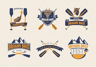 Colección de logos del festival de los botes de dragón