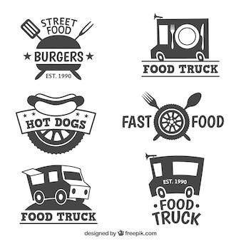 Colección de logos diferentes de camiones de comida