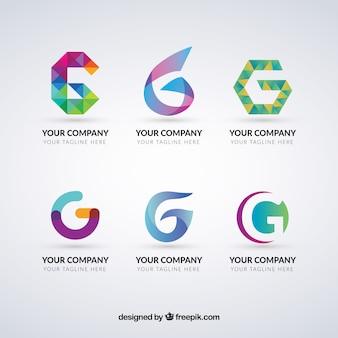 Colección de logos multicolor de la letra g