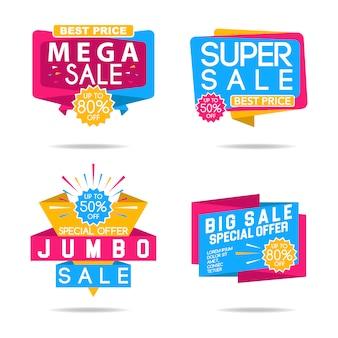 Colección de logos multicolor de súper rebajas