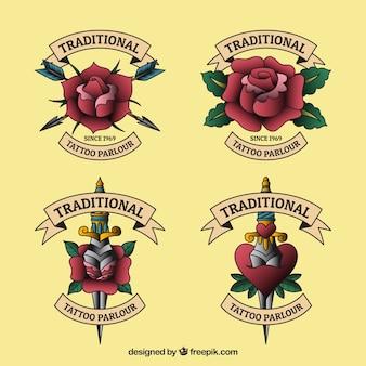 Colección de logos para estudios de tatuajes de diseño plano