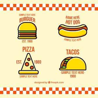 Colección de logos planos de restaurantes