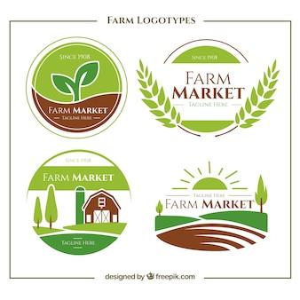 Colección de logos verdes de granja