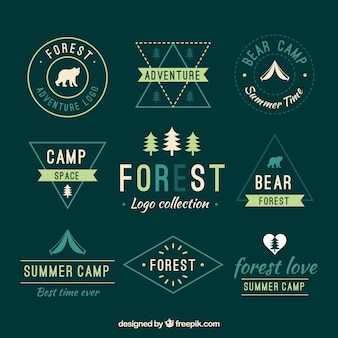 Colección de logos verdes de la naturaleza