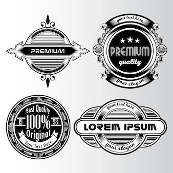 Colección de logos vintage en blanco y negro